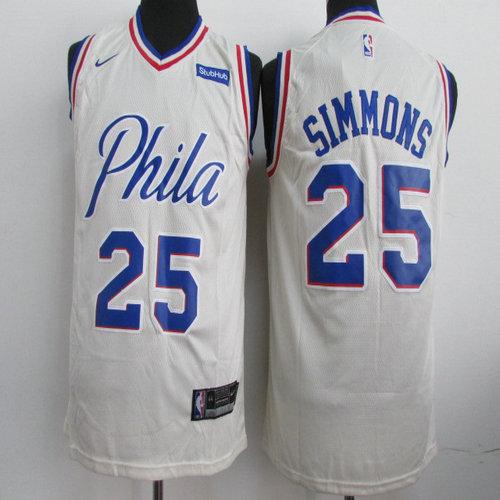 7bb0494ad Nike Philadelphia 76ers  21 Joel Embiid Cream NBA Swingman City ...