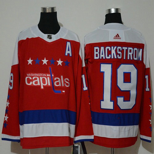 d70bbc97ffe Adidas Capitals  19 Nicklas Backstrom Red Alternate Authentic Stitched NHL  Jersey