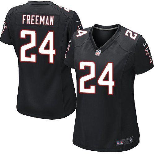 d16b0687647 Atlanta Falcons 24 Devonta Freeman Black Alternate Women Nike NFL Game  Jersey