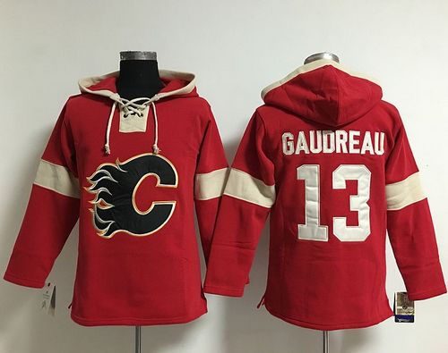 ea2253920 Calgary Flames 13 Johnny Gaudreau Red Pullover NHL Hoodie