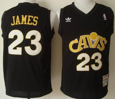 new concept 4aaaa 44a86 Cleveland Cavaliers 23 LeBron James Black CAVS Throwback ...