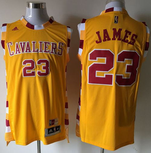 19119f06015 Cleveland Cavaliers 23 LeBron James Yellow Throwback Short Sleeve NBA Jersey