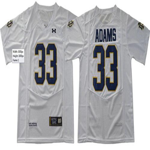 c6b7b196d Fighting Irish  33 Josh Adams White Under Armour Stitched NCAA Jersey