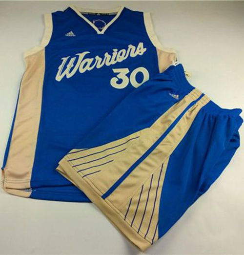 e84a8cf2 Golden State Warriors 30 Stephen Curry Blue 2015-2016 Christmas Day A Set  NBA Jersey