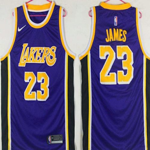 Lakers  23 Lebron James Purple 2018-19 Nike Swingman Jersey cb29a9e19
