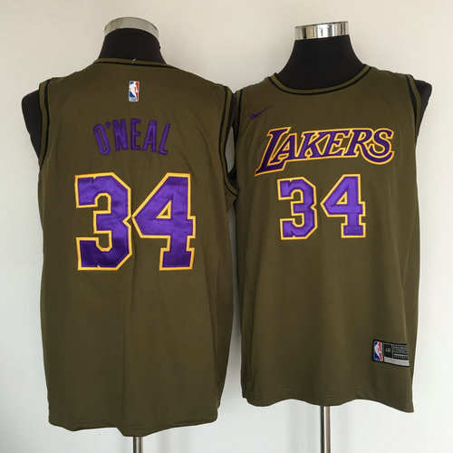 847462827 Lakers  34 Shaquille O Neal Olive Nike Swingman Jersey