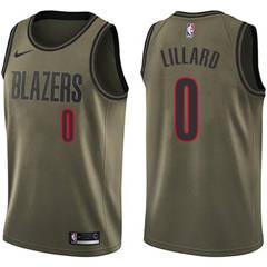 08182f2f265 Men's Nike Portland Trail Blazers #0 Damian Lillard Green Salute to Service NBA  Swingman Jersey