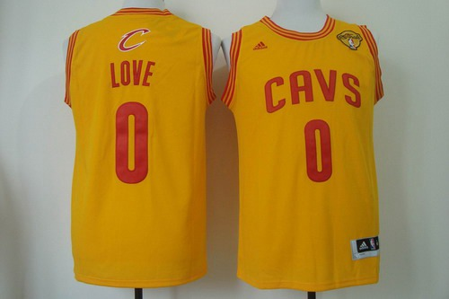 8c9775bd7 Men Cleveland Cavaliers 0 Kevin Love 2016 The NBA Finals Patch Yellow  Swingman Jersey