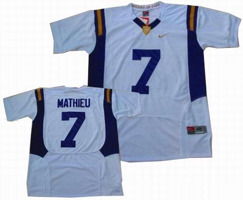 competitive price 31ad3 93fc3 NCAA LSU Tigers #7 Tyrann Mathieu Jersey white