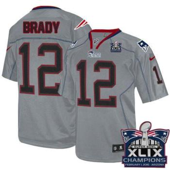 factory authentic 91fd4 46bfd New England Patriots 12 Tom Brady Lights Out Grey Super Bowl ...