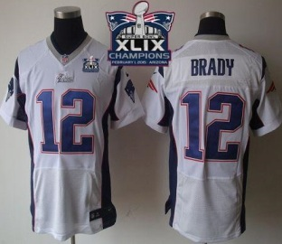new england patriots 12 tom brady white super bowl xlix champions patch stitched nfl elite jersey