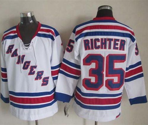 online retailer 3287d cdb99 New York Rangers 35 Mike Richter White CCM Throwback NHL Jersey