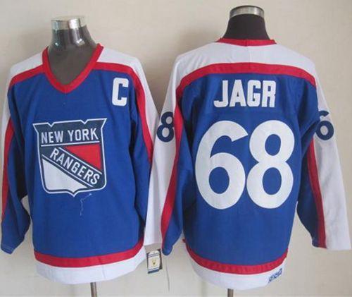 e73569c3d New York Rangers 68 Jaromir Jagr Blue White CCM Throwback NHL Jersey