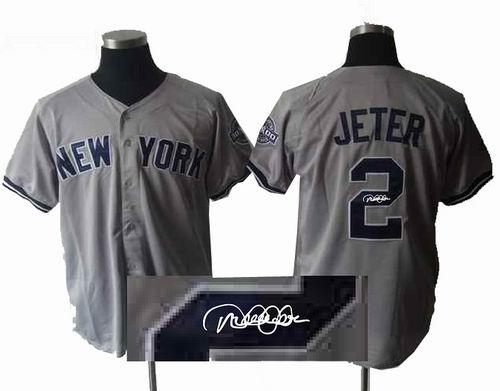 New York Yankees 2  Derek Jeter grey w3000 Hits Patch signature jerseys 2473d3034c7