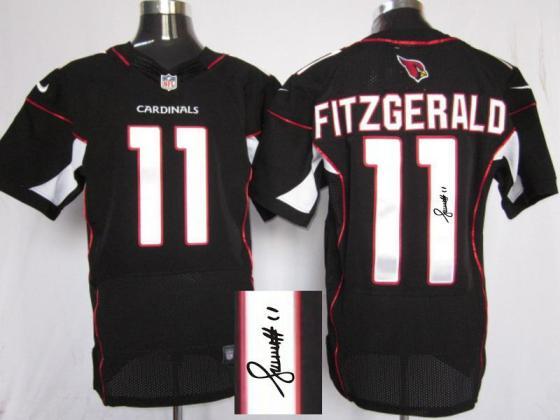 Nike Arizona Cardinals 11 Larry Fitzgerald Black Signed Elite NFL Jerseys ed3e00c78