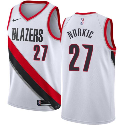 707613cd576 Nike Blazers  27 Jusuf Nurkic White NBA Swingman Association Edition Jersey
