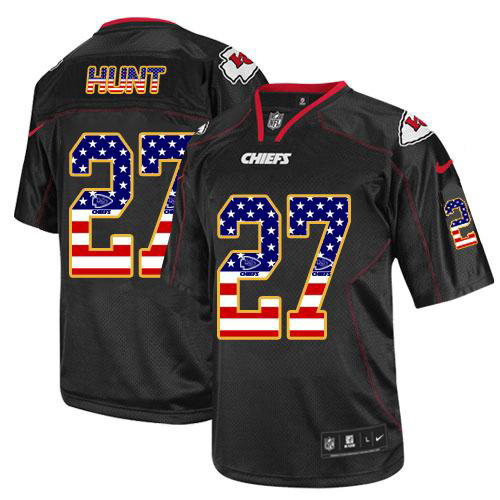 New Nike Chiefs #27 Kareem Hunt Black Men's Stitched NFL Elite USA Flag  for cheap