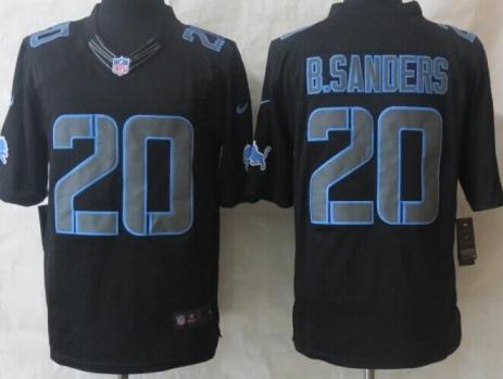 c61f67153 Nike Detroit Lions 20 B.Sanders Black Impact LIMITED NFL Jerseys