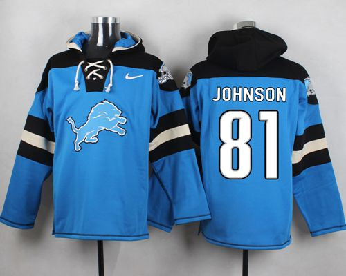 Nike Detroit Lions 81 Calvin Johnson Blue Player Pullover NFL Hoodie be2dd4370
