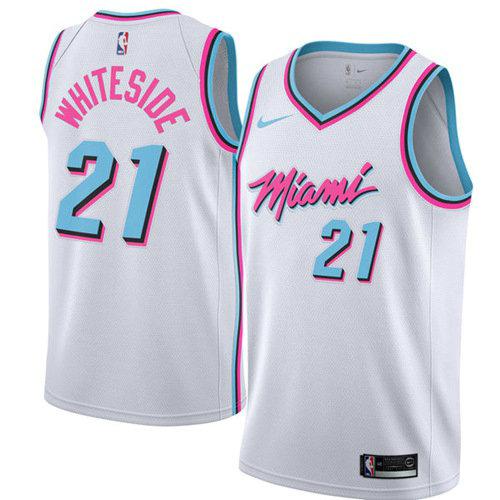 0dc0ecf578d Nike Heat #21 Hassan Whiteside White NBA Swingman City Edition Jersey