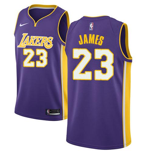 66d62b0690c Nike Lakers  23 LeBron James Purple NBA Swingman Statement Edition Jersey