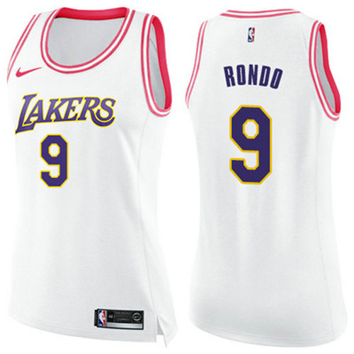 7871ab2c1b9 Nike Lakers  9 Rajon Rondo White Pink Women s NBA Swingman Fashion Jersey