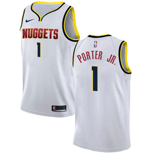 337223efb Nike Nuggets  1 Michael Porter Jr. White NBA Swingman Association Edition  Jersey