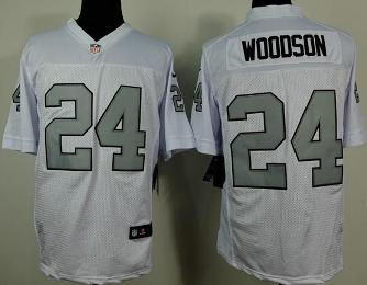 09ec063f Nike Oakland Raiders 24 Charles Woodson White Silver NFL Elite Jersey