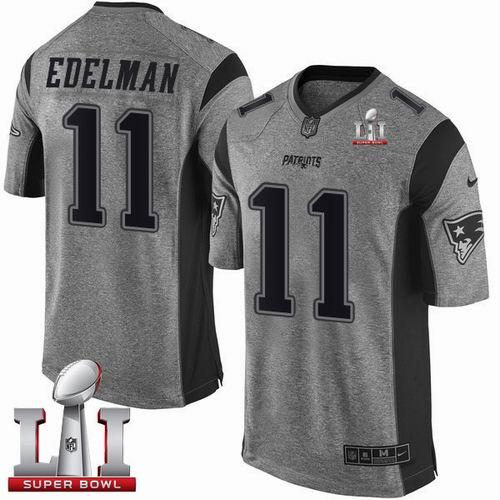 nike patriots 11 julian edelman gray super bowl li 51 limited gridiron gray jersey