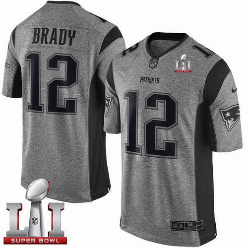 the best attitude 8f904 e9f52 Nike Patriots #12 Tom Brady Gray Super Bowl LI 51 Limited ...
