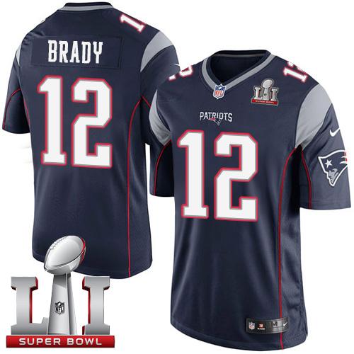 nike patriots 12 tom brady navy blue team color super bowl li 51 limited jersey