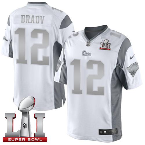 nike patriots 12 tom brady white super bowl li 51 limited platinum jersey