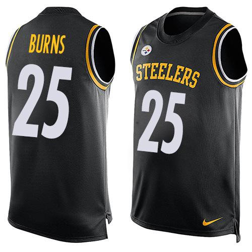 7d6dc5f7 Nike Pittsburgh Steelers 25 Artie Burns Black Team Color NFL Limited Tank  Top Jersey