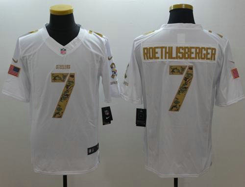 592fcee2 ... Nike Pittsburgh Steelers 7 Ben Roethlisberger White NFL Limited Salute  to Service Jersey ...