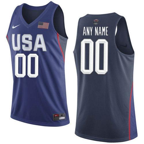 4f6b46502b8e Nike Team USA 00 Custom Navy Blue 2016 Dream Team NBA Jersey