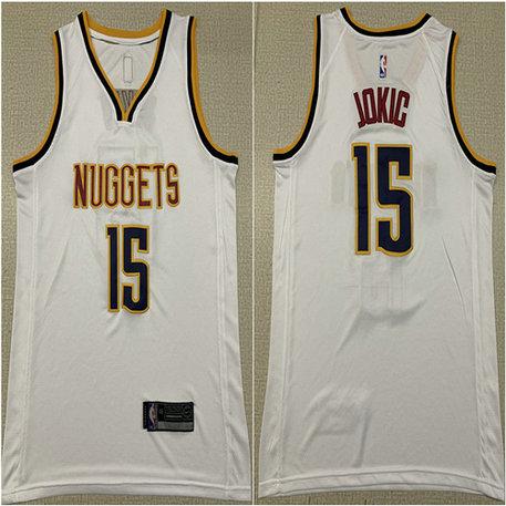 18250108f56 Nuggets 15 Nikola Jokic White Nike Swingman Jersey