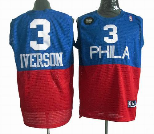 db730fe5d ... inexpensive philadelphia 76ers 3 allen iverson embroidered blue red  throwback jerseys 6c5ec ad1dd