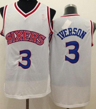 on sale 3f7f7 3e111 Philadelphia 76ers 3 Allen Iverson White Throwback Stitched ...