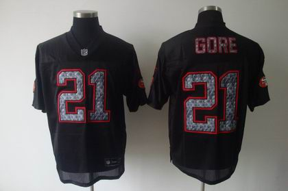 premium selection 46a84 28f2c San Francisco 49ers 21 Frank Gore Black United Sideline Jerseys