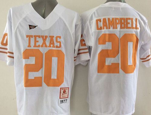 competitive price 6af3d 9b2dd Texas Longhorns 20 Earl Campbell White NCAA Jersey