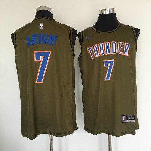 Thunder  7 Carmelo Anthony Olive Nike Swingman Jersey 89cf568fe