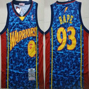 6dad2aaa7c0 Warriors 93 Bape Blue 2009-10 Hardwood Classics Jersey