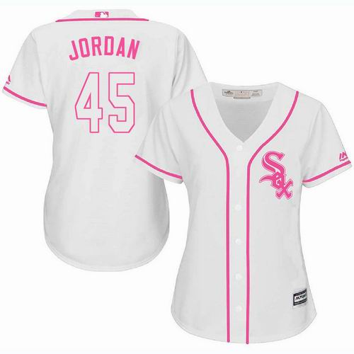 new styles 0727b a1175 Women Chicago White Sox #45 Michael Jordan white Fashion Jersey