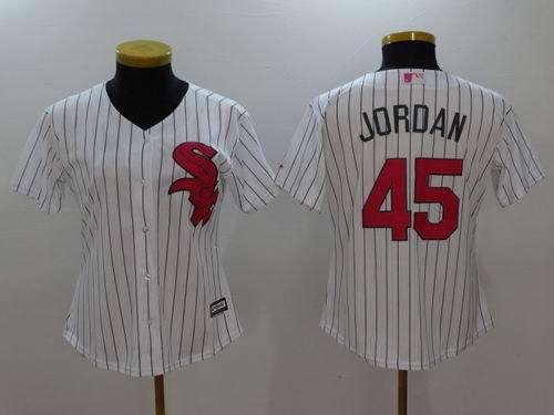 new styles 618cf 1eb77 Women Chicago White Sox #45 Michael Jordan white Fashion Jersey