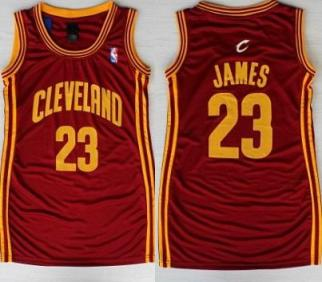 7c6125bddc6 ... 2016 The Finals Patch Women Cleveland Cavaliers 23 LeBron James Red  Stitched NBA Jersey Dress ...