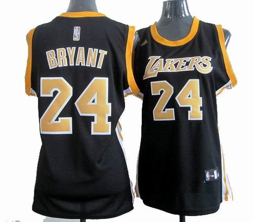 pretty nice cff46 e728f Women Los Angeles Lakers 24# Kobe Bryant black gold number ...