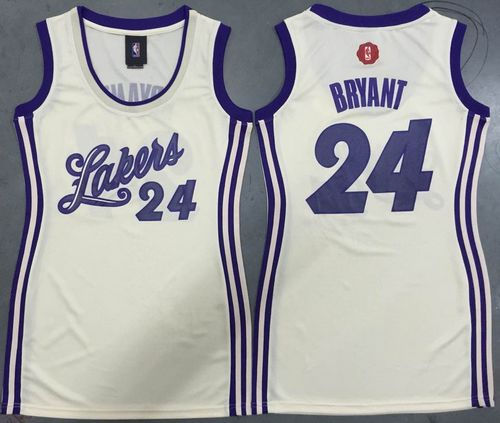 d2a1f9a634d Women Los Angeles Lakers 24 Kobe Bryant Cream 2015-2016 Christmas Day Dress  NBA Jersey ...