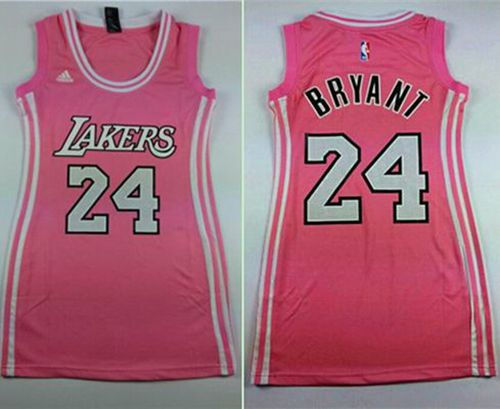 df2bfea6c25 ... Women Los Angeles Lakers 24 Kobe Bryant Pink Dress NBA Jersey ...
