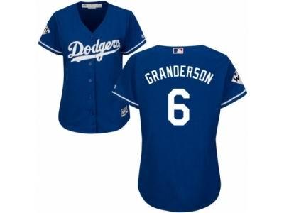 e59caf61a Women Majestic Los Angeles Dodgers  6 Curtis Granderson Replica Royal Blue  Alternate 2017 World Series