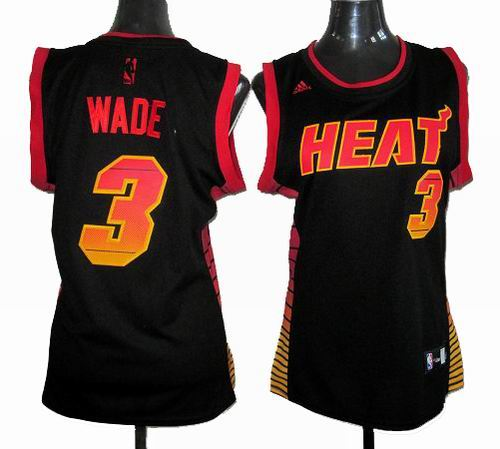 Women Miami Heat 3  Dwyane Wade Carbon black with orange Fiber Jersey fcacbf4bd